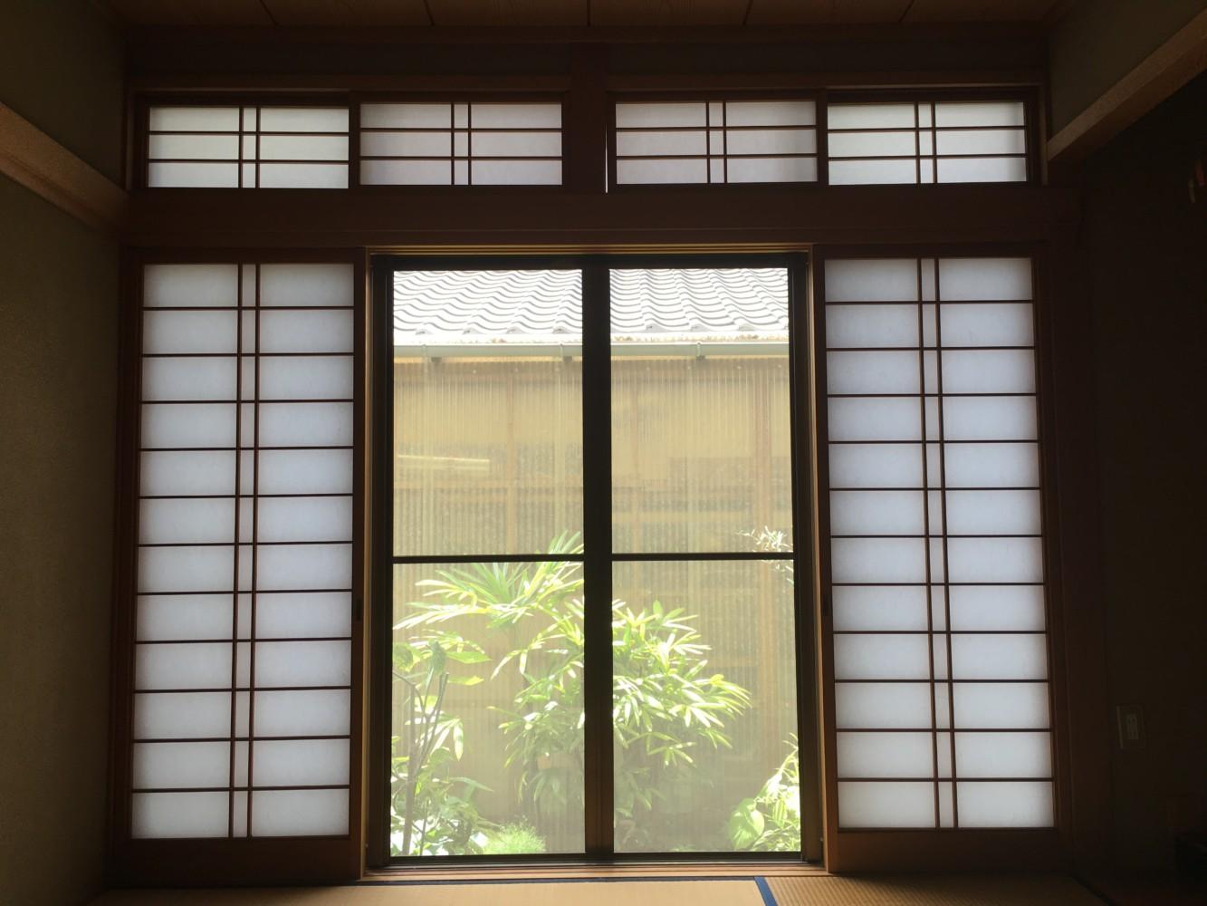 岡山市北区/2階戸襖,1階障子貼り替え